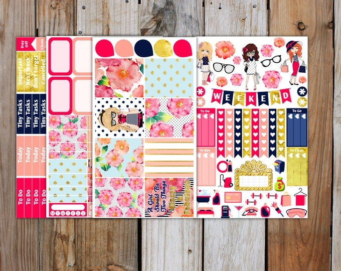 Glam Girl Planner Sticker MINI Kit | Planner Stickers Kit for use with ERIN CONDREN Life Planner