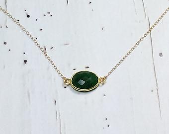 Dark Green Gemstone Necklace, Green Chalcedony Necklace, Green One Stone Necklace, 14K Gold Filled Chain, Dainty Minimalist Necklace Green
