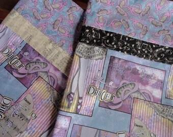 Ballerina Pillowcase/Sham, Ballerina Bedding, Ballerina Fabric Gift Bag, Dancer Pillowcase/Sham, Ballerina Shoes, Pink, Purple, Sheet Music