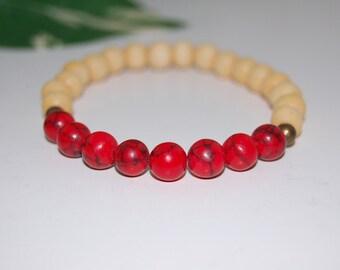 Red Coral Gemstone and Wood 8mm Beads Bracelet, Stretch Bracelet, Colorful, Men,Women,Beaded,Yoga,Pray,Protection,Meditation