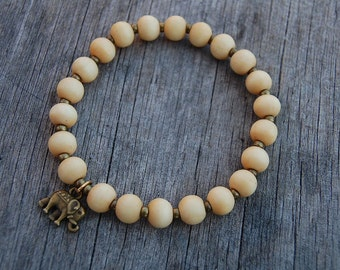Elephant Bracelet,Wood 8mm beads Bracelet,Man,Woman,health,Relieve,Protection,Yoga,Stretch,Men,Women,Protection,Meditation,Good Luck,Gift