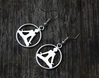 Yoga Earrings, Silver Yoga Earrings, Beaded Earrings,Drop Earrings ,Dangle Earings ,Boho Jewelry ,Gift For Her