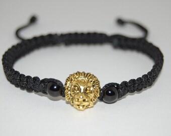Lion Bracelet,Hemp Men's Bracelet,Macrame,Bronze Lion Bracelet,Shamballa,Adjustable Drawstring,Man,Yoga,Protection,Meditation
