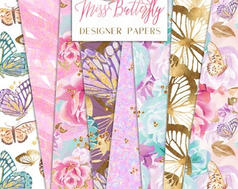 Miss Butterfly Digital Papers |  Shabby Chic Flowers Butterflies Gold Foil Glitter Patterns | planner stickers, graphics  resources, Fabric