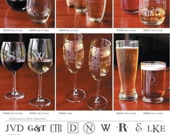 Monogram Glassware Etched Glassware Custom Glassware Set of 4