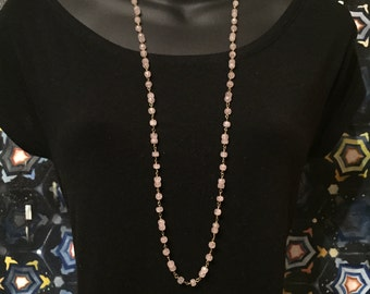 Pink Rose Quartz Long Necklace with Gold Chain