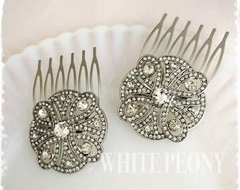 "Set of 2 Crystal Art Deco Great Gatsby Inspired Hair Combs-Wedding Hair Accessories-Bridal Bridesmaids Small Crystal Hair Combs-""CHERYL"""