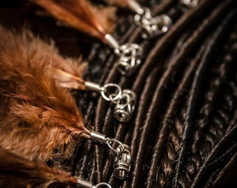 Set of 6 dread beads with natural feathers