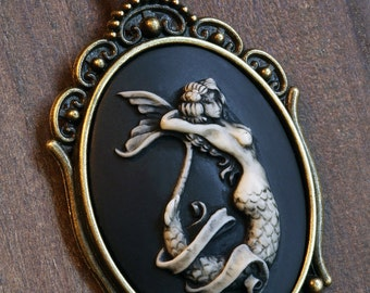 Cameo: Mermaid Cameo Necklace, Antique Bronze, Romantic Victorian Style Jewelry, Romantic Gift for Her
