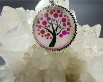 Dichroic Glass Tree of Life Sterling Silver Pendant.