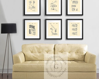 Ice Hockey Patent art prints set of 6 cream wall art boys room decor, gift for ice hockey, NHL fan wall decor, gift for Hockey Player