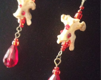 Drops of blood- gothic bone earrings with swarovski with swarovski crystals