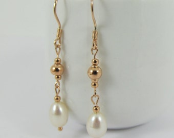 Rose Gold  and Pearl Drop Earrings