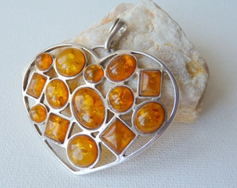 Sterling Silver Gold Amber Pendant Vintage Baltic Amber Heart Pendant,Retro Big Amber Genuine Amber Big Modernist Amber Pendant 70's Jewelry