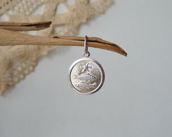 Sterling Silver Pisces Zodiac Pendant, Pisces Horoscope Charm, Astrological Pisces, The Two Fish Zodiac Sign, Constellation Sign Charm
