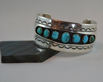 Vintage Southwest Navajo Silver and Turquoise Native American Heavy Cuff Bracelet
