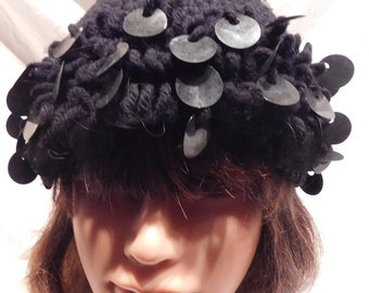 Vintage Crotched Winter Hat with Black Sequins