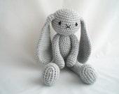 Crochet Bunny Rabbit / Amigurumi Rabbit /  Plush Rabbit Soft Toy / Long Eared Grey Bunny Rabbit / 18 inch Dress up soft toy / 18 inch Doll