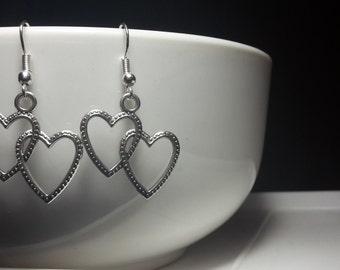 Entwined heart earrings