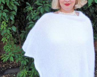 Angora Wool White Bridal Poncho, Fluffy Wedding Shrug, Bridal Cardigan, Wedding Cape, Capelet, Bridal Cover Up, Wedding Shawl, Stole, Mohair