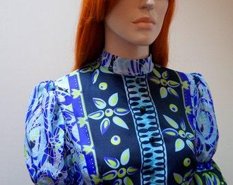 1970s semi sheer blue maxi dress