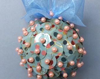 Modernist Paillette Sequin Christmas Ornament/Handmade