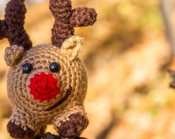 Reindeer, Amigurumi Crochet Stuffed Rudolph Christmas Reindeer