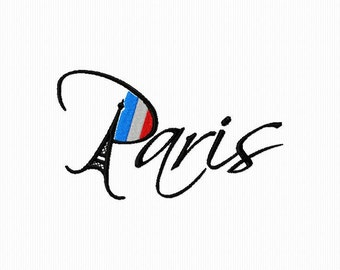 Machine embroidery pattern of Paris and its colors format 4 x 4 and 5 x 7