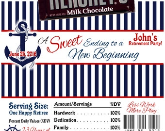 Anchor Printable Retirement Candy Bar Wrappers 1.55 oz. Hershey's Chocolate Nestle Crunch Beach Nautical Boat Theme