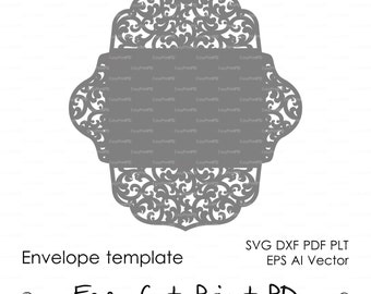 Scroll Lace Wedding Envelope pattern Template swirl cutting file (svg, dxf, ai, eps, pdf) laser cut Silhouette Cameo Cricut Instant Download