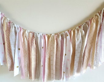 Fabric Tie Banner// Gold and Pink Fabric Banner// Girl Banner// Garland Swag// Wall Decor// Nursery Decor// Party Decor// Pink Fabric Banner
