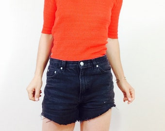 Vintage red shirt Vintage red knit top knit t shirt vintage shirt size small red t shirt red knit shirt red 70s shirt short sleeve knit top