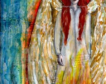 Angel art print - mixed media fantasy angel painting