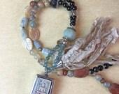 Awakened - Long Beaded Sari Silk Tassel Necklace with Buddha