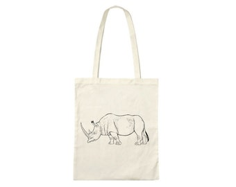 Hand printed cotton bag / jute bag with rhino print Black / White / 38 x 42 cm