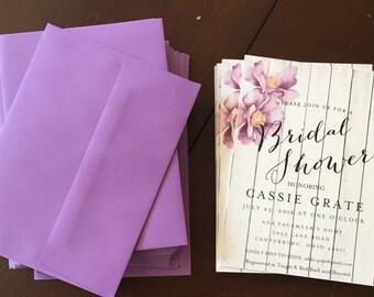 Wooden White Bridal Shower Invitation + Envelope