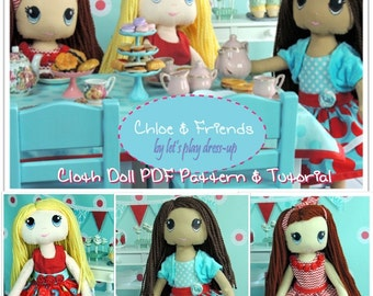 "CHLOE & FRIENDS 17"" Cloth Doll PDF Sewing Pattern and Tutorial Instant Download Pattern"