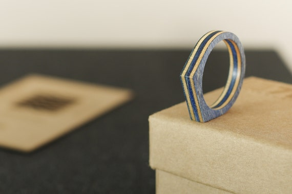 RECYCLED ring from a used blue SKATEBOARD (wood)