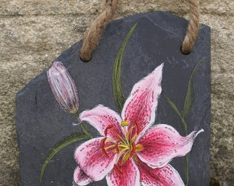 Lily - Handpainted Reclaimed Slate Wall Hanging