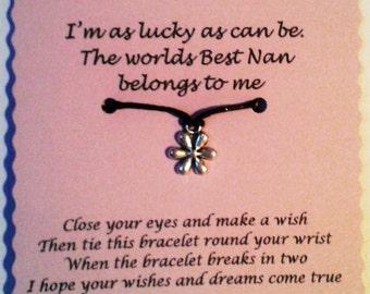 Nan gift, Nan Wish Bracelet, Friendship Bracelet, Mothers day Gift, Nan jewellery, Keepsake Gift, charm bracelet, Gift for Nan