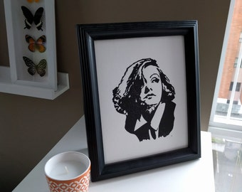 Greta Garbo Hand Pulled Block Print Protrait