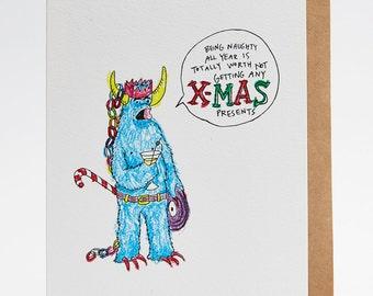Funny Christmas card, Christmas card, handmade Christmas card, naughty Christmas card, boyfriend Christmas card, 'Being Naughty' best friend