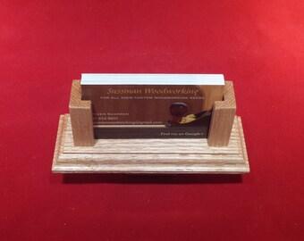 Business Card Holder - Red Oak