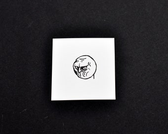 NO Rage Face Meme Rubber Stamp, Hand carved Stamp