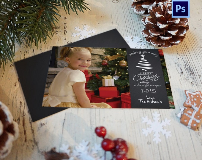 Christmas Card Template, PHOTOSHOP TEMPLATE, INSTANT Download, Photographer template, Commercial Use
