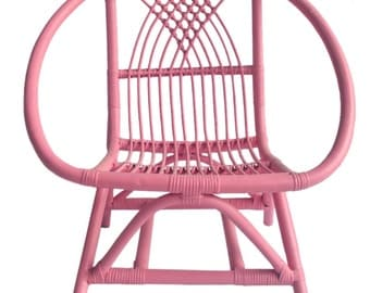 Kids Pink Rattan Chair