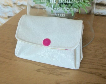 Purse bellows faux off-white leather