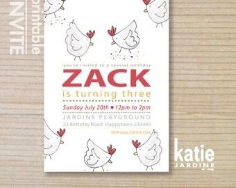 chickens - farm invitation - kids invitation  - printable invitation - chickens invitation