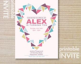 kids invitation - girls invitation - printable invitation - modern design - teenager invitation- - love heart