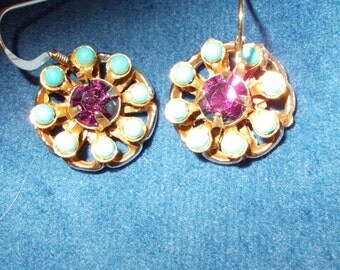Vintage Amethyst and Turquoise gold filled earrings